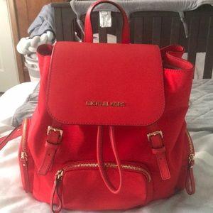 Michael Kors Bright Orange Red Bookbag